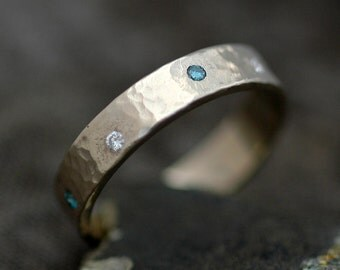 Recycled 14k Gold and Flush Set Diamond Ring- 4mm Band Custom Wedding Band