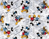 SPRINGS Disney Mickey & Minnie All Over the News by the yard fabric # 52970G550715