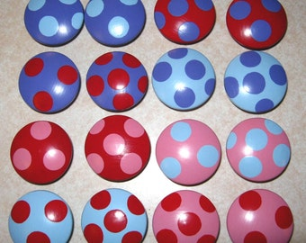 LARGE POLKA DOT - Hand Painted Wooden Knobs/Pulls - Set of 16 - Great for Kid's Room, Nursery, Kitchen or Office
