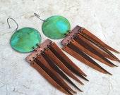 Patina & Leather Fringe Earrings