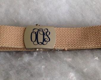 Custom Monogram Military Style Belt, Assorted Sizes