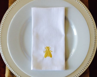 Embroidered Bee Napkins, set of 4