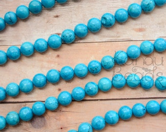 "Blue Turquoise Color Magnasite 10mm OR 6mm smooth round beads 14"" Choose your size"