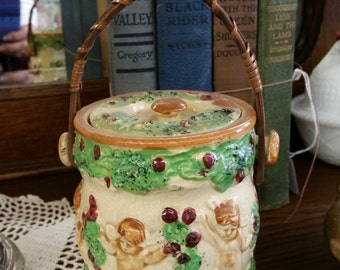 SALE - Vintage Cupid Sugar Jar With Wicker Handle from Rustyecrets