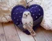 Snowy Owl Ornament in Violet - Made to Order Embroidered Fiber Art