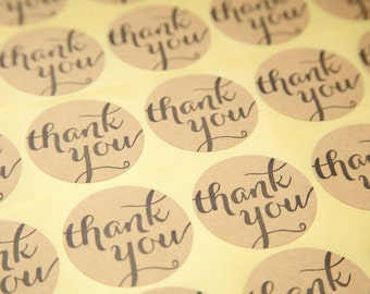 20 Round Kraft Thank You Stickers - FREE SHIPPING with other purchase