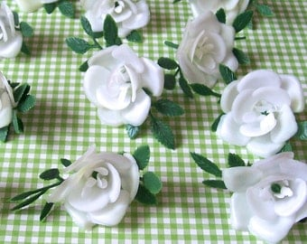 12 White Rose Cupcake Toppers