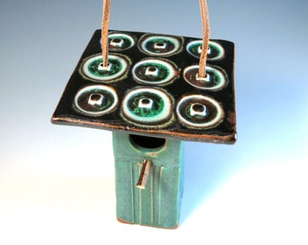 Green Bird House with Glass Roof - Ceramic Decorative Birdhouse - Weathered Bronze Green - by Botanic2Ceramic - 974