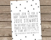 Baby Shower Invitation : Printable Custom Boy Girl Aztec Tribal Triangles Invite
