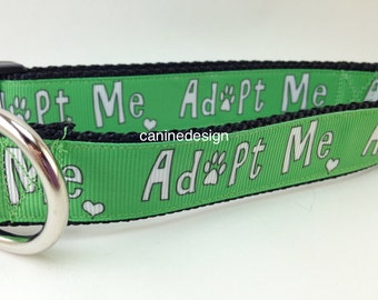 Dog Collar, Adopt Me,1 inch wide, adjustable, quick release, metal buckle, chain, martingale, hybrid, nylon