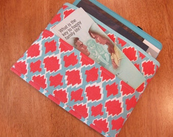 Coral, Blue and White Tract and Magazine Holder, Organizer, Tablet Sleeve