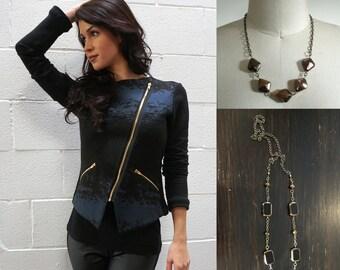 SET / Gift Set / Gifts for her / Moto Jacket / Spring Jacket / Asymmetrical Jacket / Zip Jacket / Eco Fashion / Light Jacket / Organic