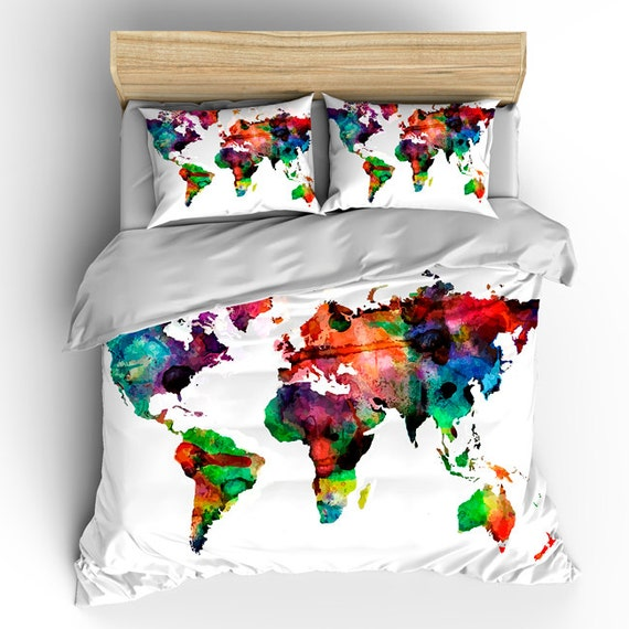 custom bedding duvet cover watercolors on white world map