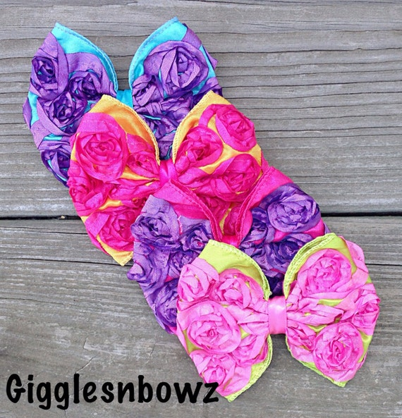 BRiGHT CoLLeCTiON 2- Set of FOUR Satin ROSeTTe RiBBoN BoWS- 4 inch