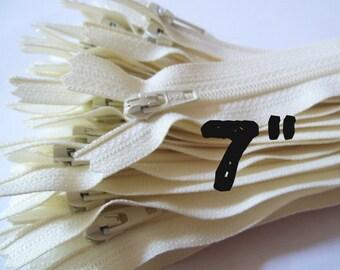 7 Inch vanilla YKK zippers, Ten pcs, ivory, off white, YKK color 121, dress, skirt, pouch zippers