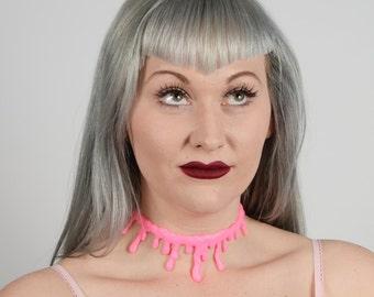 Creepy Cute large Blood drip   Bubble Gum Pink choker Gothic Lolita Necklace