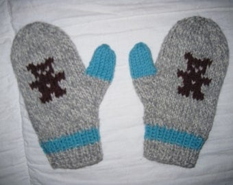 Hand Knit Mittens to Fit 2 to 4 Year Old Child Wool Teddy Bear Design Free US Shipping