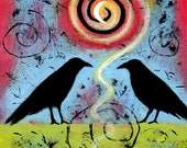 Vibrant Colors - Raven Print - Archival Print - Two Ravens Sit and Reflect II
