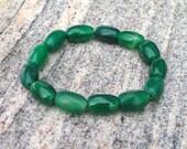 Beautiful Green Agate Bead Stretch Bracelet by Guru Designs