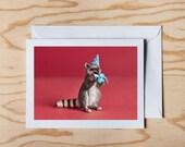 Happy Birthday card. Colorful blank birthday card. Racoon Birthday Card. Animal Birthday Card
