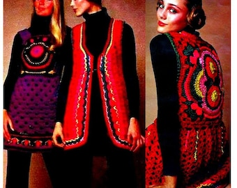 INSTANT DOWNLOAD Vintage Crochet Pattern   Long Line Tapestry Waistcoat Vest  Sweater Tunic Boho Folk