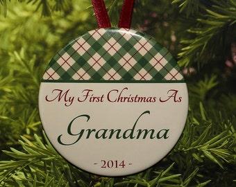First Christmas As Grandma Ornament - Green Tan Plaid - C019