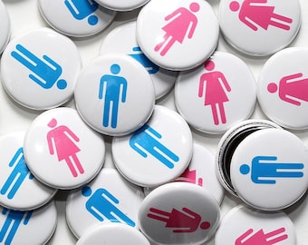 "50 Baby Shower 1"" Pinbacks - MAN & WOMAN SYMBOLS White - Gender Reveal Party Favors"