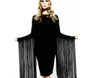 Black Fitted XL fringe midi dress