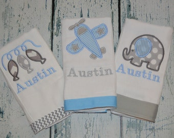 Personalized Boys Burp cloth Set of 3  Burpies  Monogrammed - Elephant, Airplane, and Fish