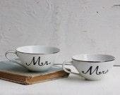 Mr. and Mrs. Hand Painted Vintage White TEA CUPS Wedding Bride Groom