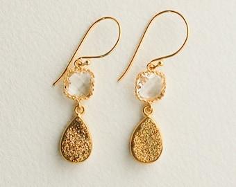Gold Druzy Earrings Statement Bridal Earrings Gold Crystal Earrings Elegant