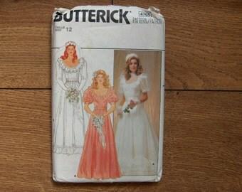 vintage 80s butterick pattern 4765 wedding dress gown bridesmaid sz 12 uncut