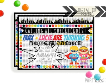 Super Hero Party Invitation - Digital or Printed