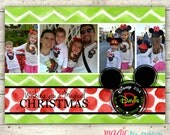 Chevron Mickey Monogram Disney Inspired Christmas Card