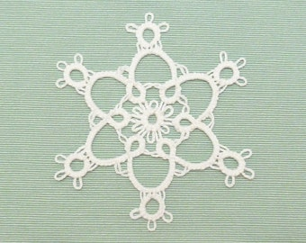 Tatted Lace Christmas Ornament Snowflake -Puff Flake MTO choose your color