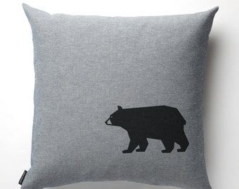 Bear Pillow in Denim with fill