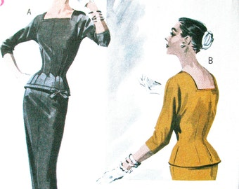 Uncut Retro 1950s Reproduction Butterick B5557 pattern wiggle skirt and fitted lined top