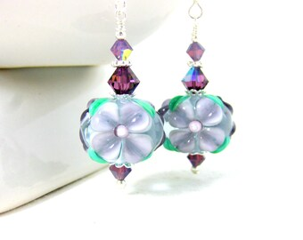 Violet Floral Earrings, Purple Earrings, Dangle Earrings, Garden Earrings, Nature Inspired Jewelry Lampwork Earrings, Flower Earrings Violet