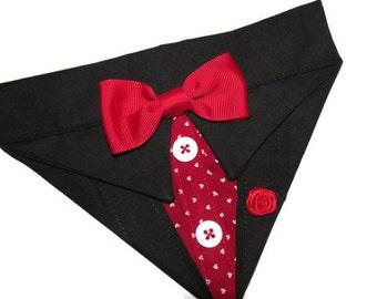 Valentine Tuxedo Bandana Black Sz XS S M