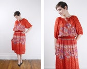 1970s Red Sheer Floral Dress M/L
