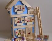 """Wooden Dollhouse, 3-Storey Blue Doll House, Natural Wood Toy Furniture, Handmade Toy, Gender Neutral, Waldorf, Jacobs Wooden Toys """"SEASIDE"""""""