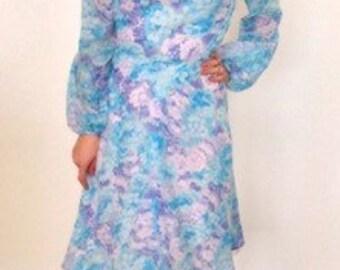 French vintage 1970s blue floral chiffon dress - medium large M L