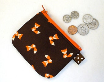 Tiny Foxes Mini Coin Purse Mini Change Purse Little Zipper Coin Purse Brown Orange Fox  Handmade MTO