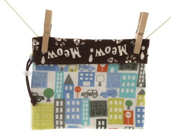 City Scape, Buldings, Cars, Stop Signs, Kitty Paws, Meow, Reversible Project Bag, Medium