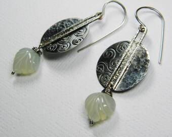 Sterling Silver Swirl Hammered Earrings with Serpentine Leaf Stone Drop