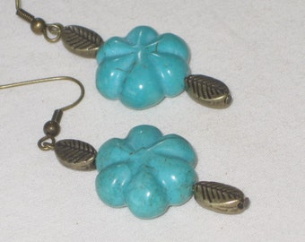 Turquoise Flowers and Brass Leaves - earrings