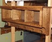 "3 Cubby Coat Rack Storage Display Wall Shelf 36"" Oak Storage Unit Rack"