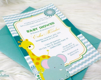 Little Elephant and Giraffe Baby Shower Invitation