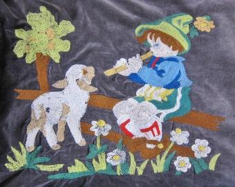 Embroidered VELVET  pillow cover FOLK ART European 1930s