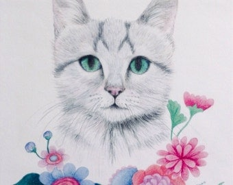 Lavender cat illustration